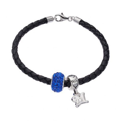 Milwaukee Brewers Sterling Silver Charm Set With Leather Bracelet