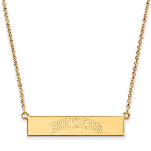 Milwaukee Brewers Sterling Silver Gold Plated Bar Necklace