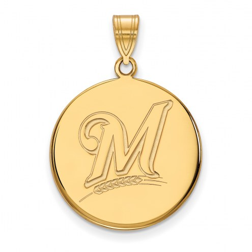 Milwaukee Brewers Sterling Silver Gold Plated Large Disc Pendant