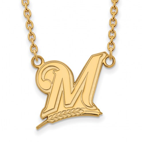 Milwaukee Brewers Sterling Silver Gold Plated Large Pendant Necklace