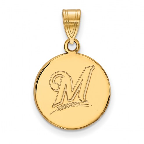 Milwaukee Brewers Sterling Silver Gold Plated Medium Disc Pendant