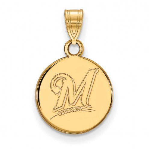 Milwaukee Brewers Sterling Silver Gold Plated Small Disc Pendant