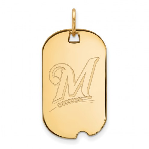 Milwaukee Brewers Sterling Silver Gold Plated Small Dog Tag