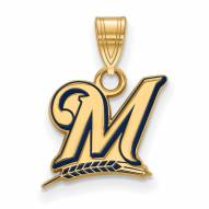 Milwaukee Brewers Sterling Silver Gold Plated Small Enameled Pendant