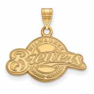 Milwaukee Brewers Sterling Silver Gold Plated Small Pendant