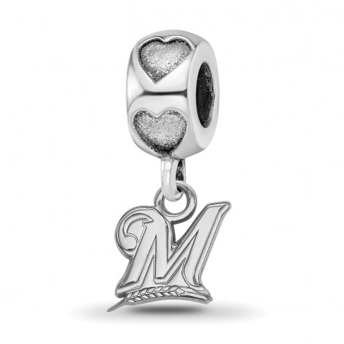 Milwaukee Brewers Sterling Silver Heart Bead