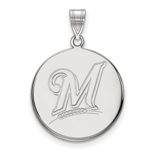 Milwaukee Brewers Sterling Silver Large Disc Pendant