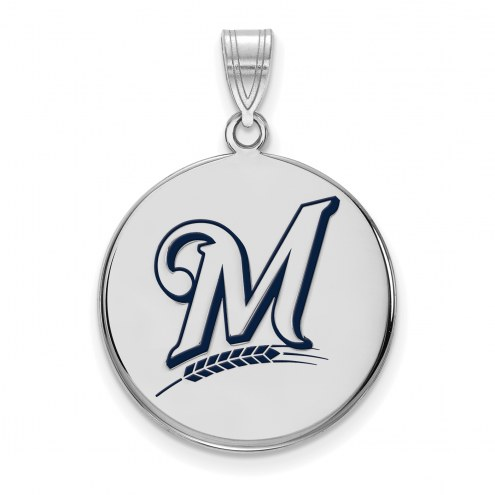 Milwaukee Brewers Sterling Silver Large Enamel Disc Pendant