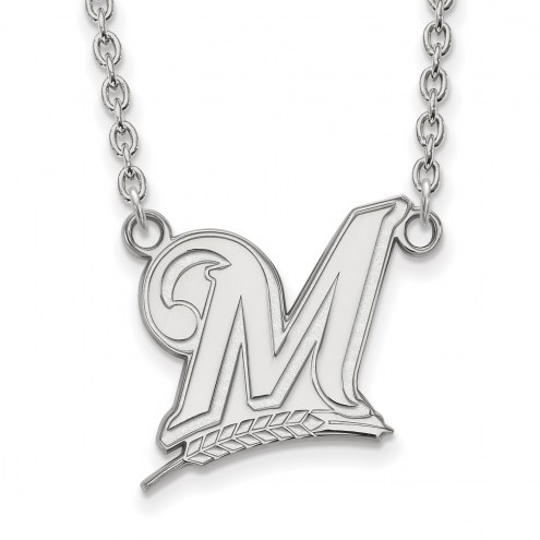 Milwaukee Brewers Sterling Silver Large Pendant Necklace