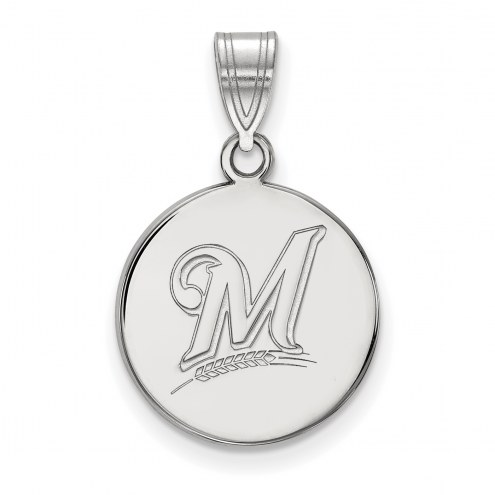Milwaukee Brewers Sterling Silver Medium Disc Pendant