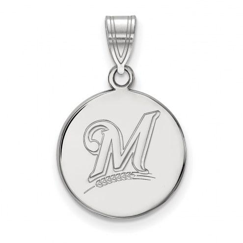 Milwaukee Brewers Sterling Silver Medium Disc Pendant