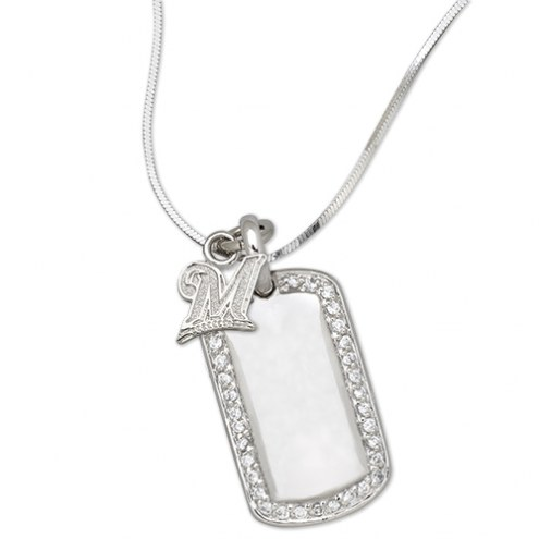 Milwaukee Brewers Sterling Silver Mini Dog Tag Pendant