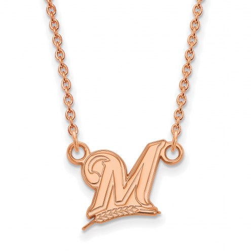 Milwaukee Brewers Sterling Silver Rose Gold Plated Small Pendant Necklace