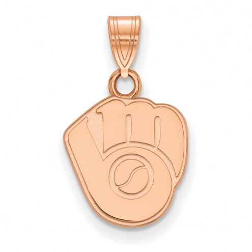 Milwaukee Brewers Sterling Silver Rose Gold Plated Small Pendant