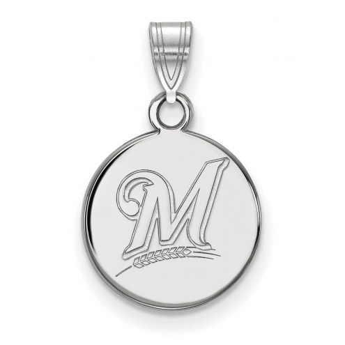 Milwaukee Brewers Sterling Silver Small Disc Pendant