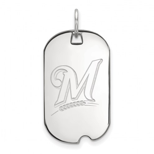 Milwaukee Brewers Sterling Silver Small Dog Tag