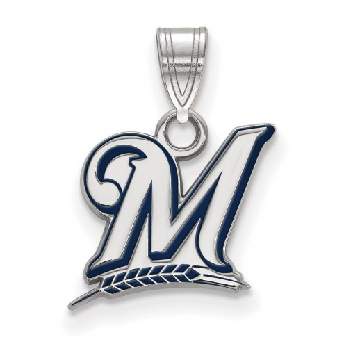 Milwaukee Brewers Sterling Silver Small Enamel Pendant