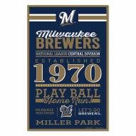 Milwaukee Brewers Established Wood Sign
