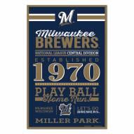 Milwaukee Brewers Established Wood Sign