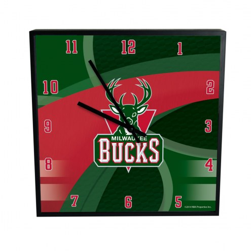Milwaukee Bucks Carbon Fiber Square Clock