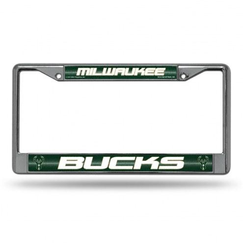 Milwaukee Bucks Chrome Glitter License Plate Frame