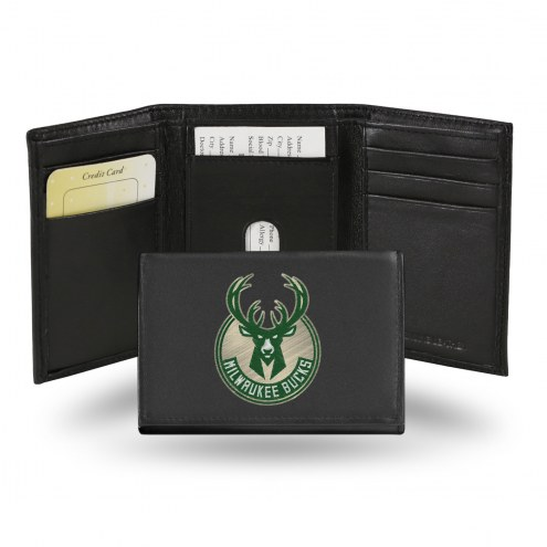 Milwaukee Bucks Embroidered Leather Tri-Fold Wallet