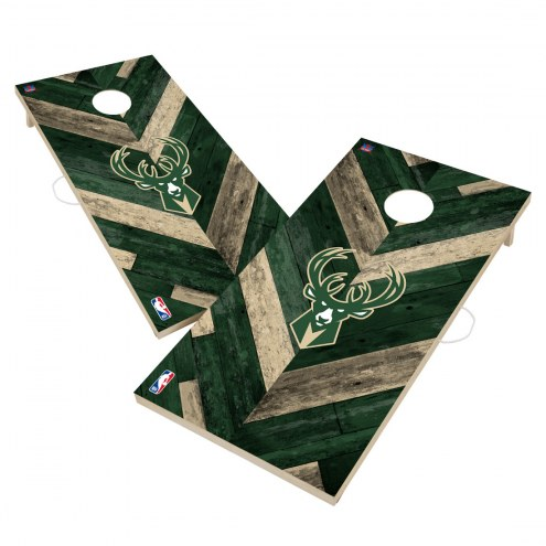 Milwaukee Bucks Herringbone Cornhole Game Set