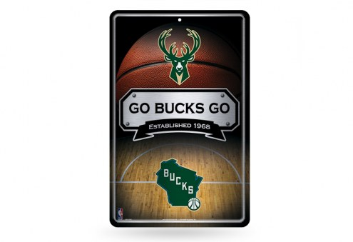 Milwaukee Bucks Large Embossed Metal Wall Sign