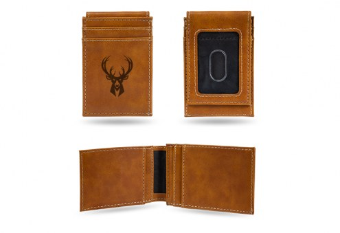 Milwaukee Bucks Laser Engraved Brown Front Pocket Wallet