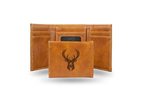 Milwaukee Bucks Laser Engraved Brown Trifold Wallet