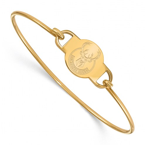 Milwaukee Bucks Sterling Silver Gold Plated Wire Bangle Bracelet