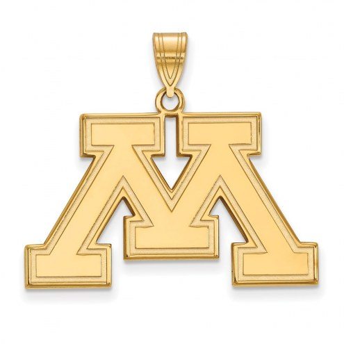 Minnesota Golden Gophers College Sterling Silver Gold Plated Large Pendant