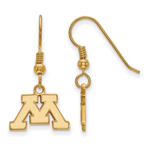 Minnesota Golden Gophers Sterling Silver Gold Plated Extra Small Dangle Earrings