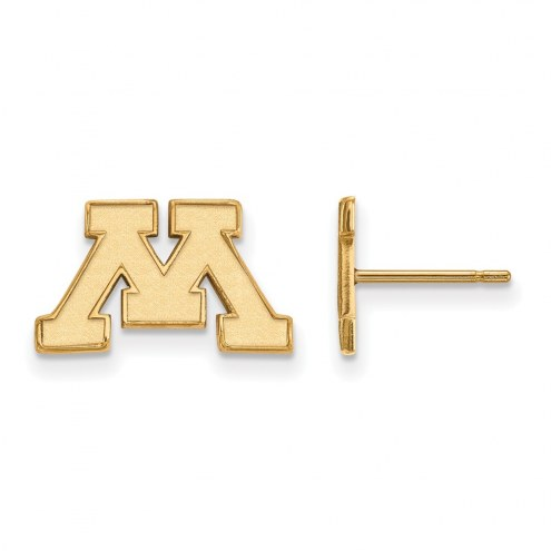 Minnesota Golden Gophers Sterling Silver Gold Plated Extra Small Post Earrings