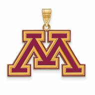 Minnesota Golden Gophers Sterling Silver Gold Plated Large Enameled Pendant