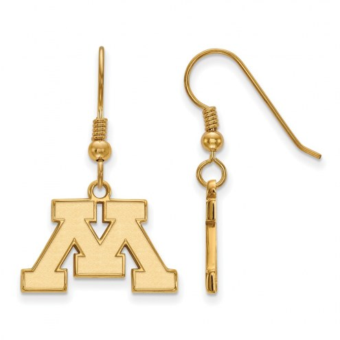 Minnesota Golden Gophers Sterling Silver Gold Plated Small Dangle Earrings