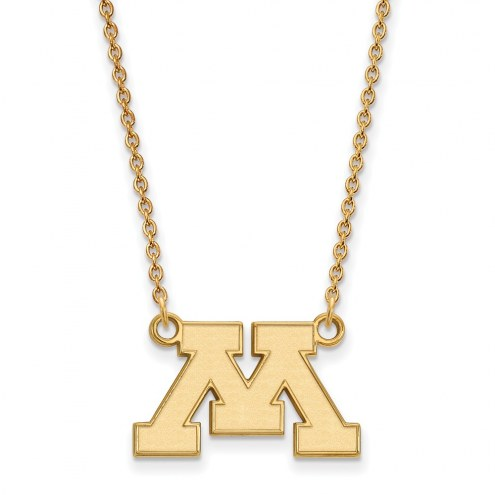 Minnesota Golden Gophers Sterling Silver Gold Plated Small Pendant Necklace