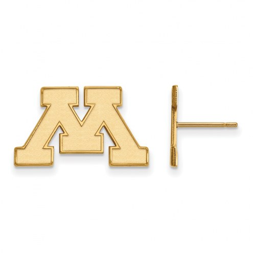 Minnesota Golden Gophers Sterling Silver Gold Plated Small Post Earrings