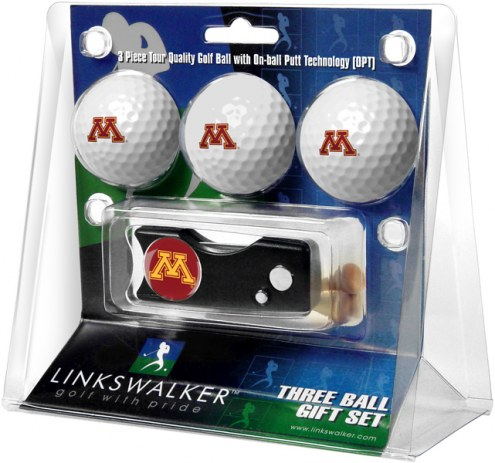 Minnesota Golden Gophers Golf Ball Gift Pack with Spring Action Divot Tool