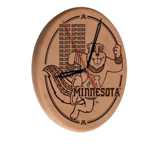 Minnesota Golden Gophers Laser Engraved Wood Clock