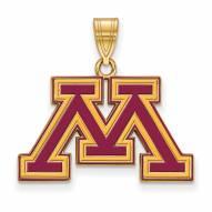 Minnesota Golden Gophers Sterling Silver Gold Plated Medium Pendant