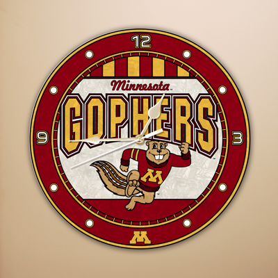 Minnesota Gophers NCAA Stained Glass Wall Clock