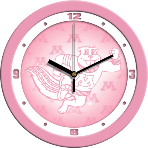 Minnesota Golden Gophers Pink Wall Clock
