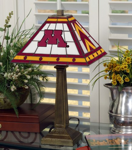Minnesota Golden Gophers Stained Glass Mission Table Lamp