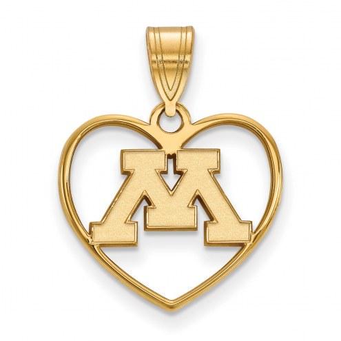 Minnesota Golden Gophers Sterling Silver Gold Plated Heart Pendant