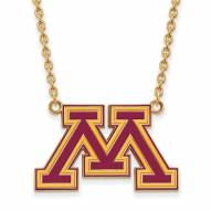 Minnesota Golden Gophers Sterling Silver Gold Plated Large Pendant Necklace