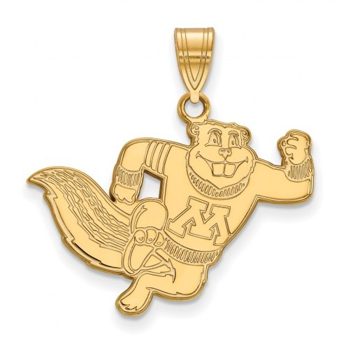 Minnesota Golden Gophers Sterling Silver Gold Plated Large Pendant