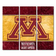 Minnesota Golden Gophers Triptych Double Border Canvas Wall Art