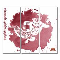 Minnesota Golden Gophers Triptych Watercolor Canvas Wall Art