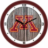 Minnesota Golden Gophers Weathered Wood Wall Clock